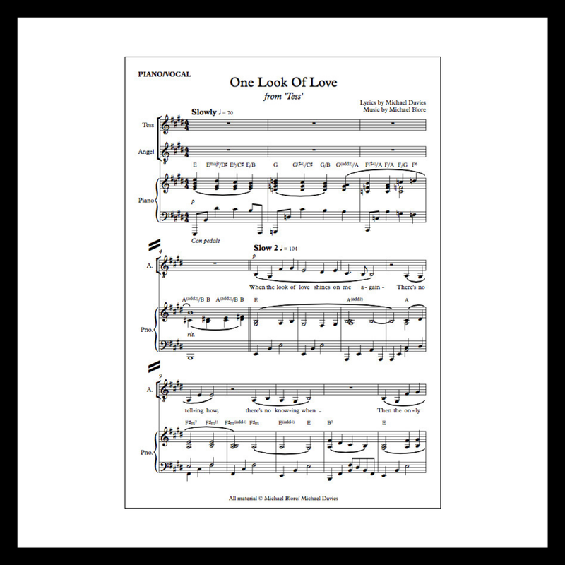 Tess The Musical, Sheet Music